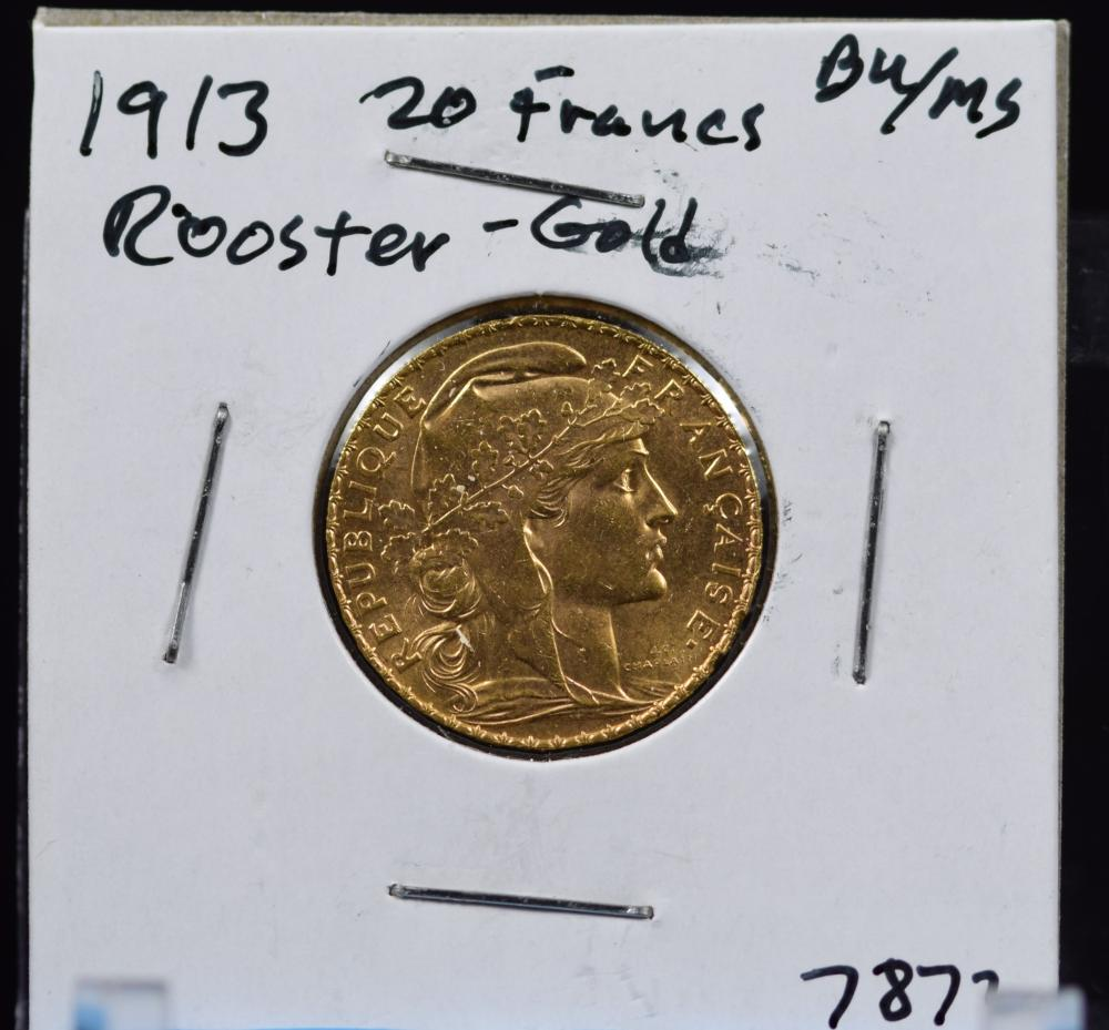 1913 Gold French 20 Francs Rooster BU/MS