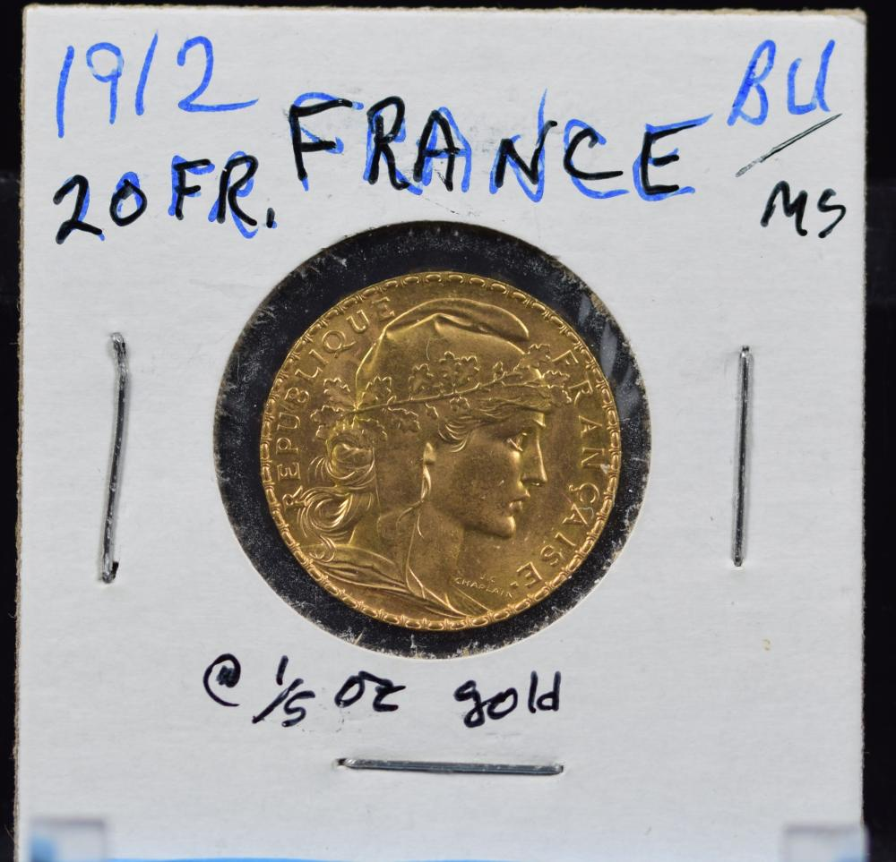 1912 Gold French 20 Francs Rooster BU/MS