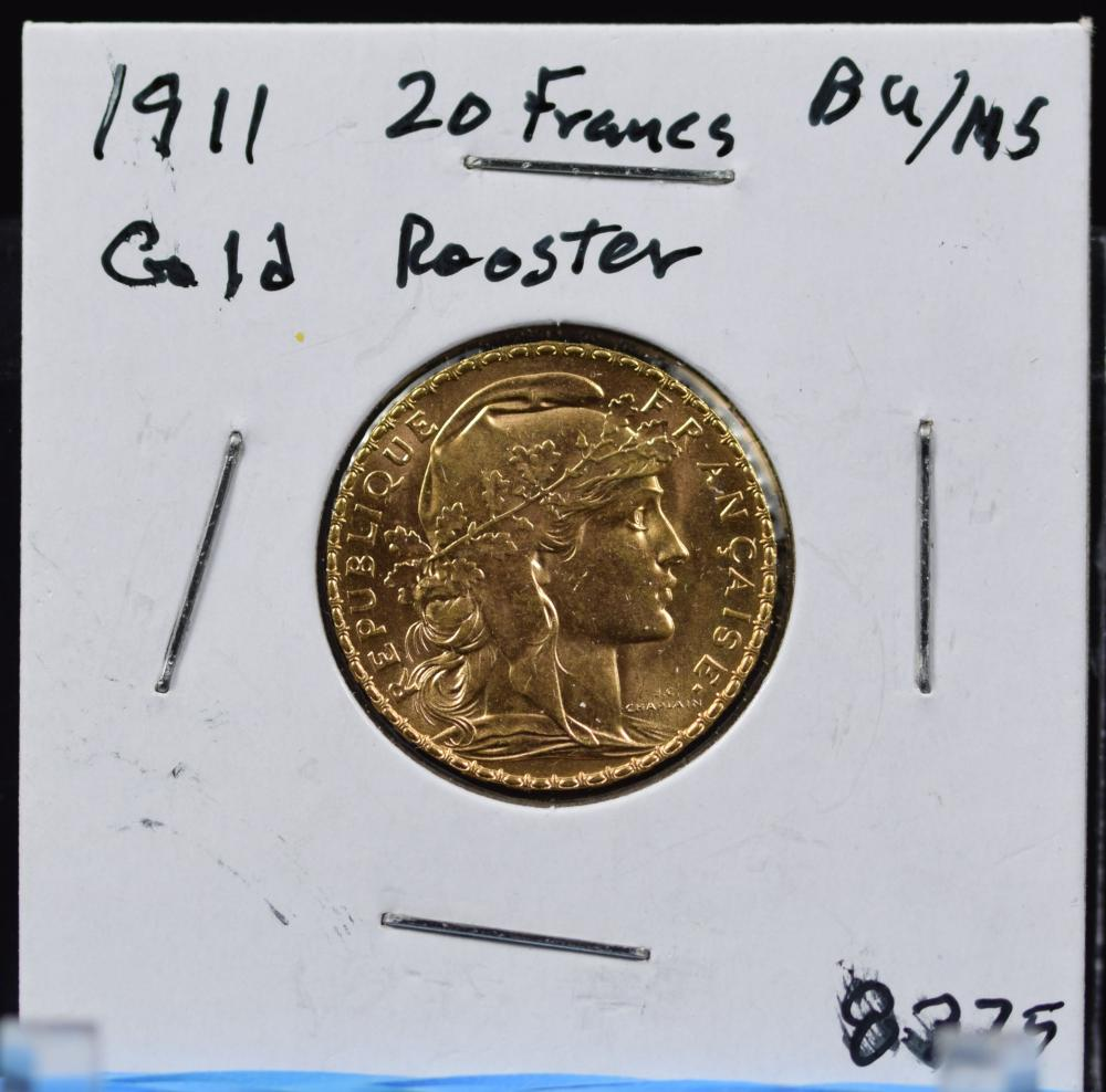 1911 Gold French 20 Francs Rooster BU/MS