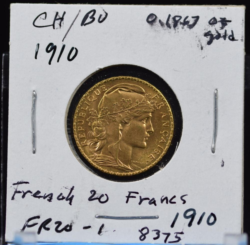 1910 Gold French 20 Francs Rooster CH/BU