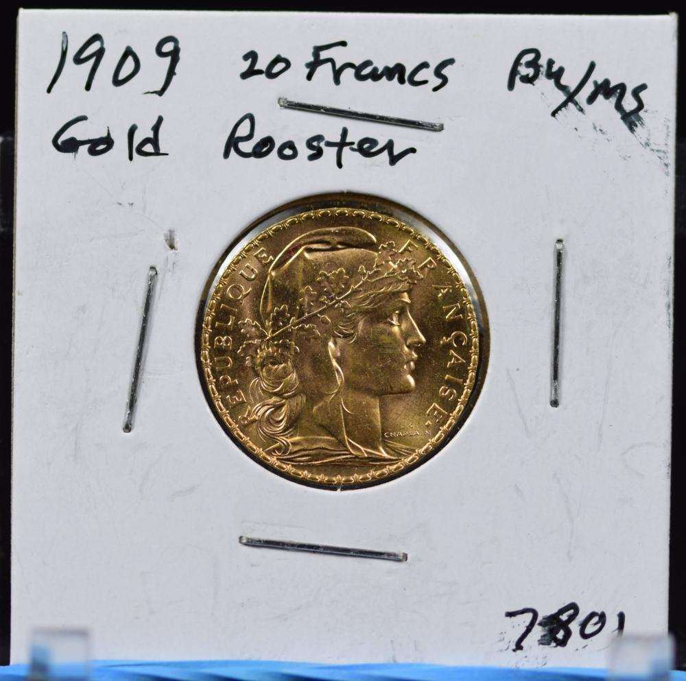 1909 Gold French 20 Francs Rooster BU/MS