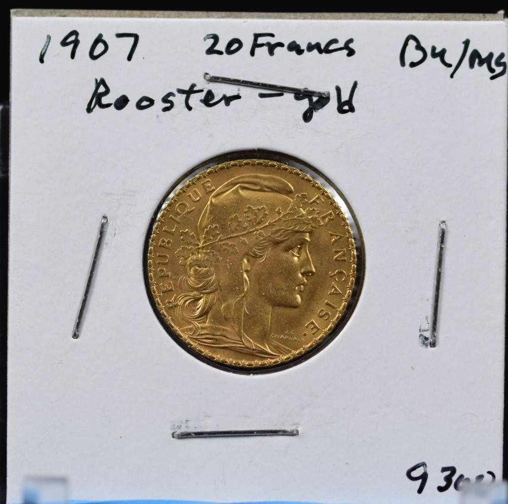 1907 Gold French 20 Francs Rooster BU/MS