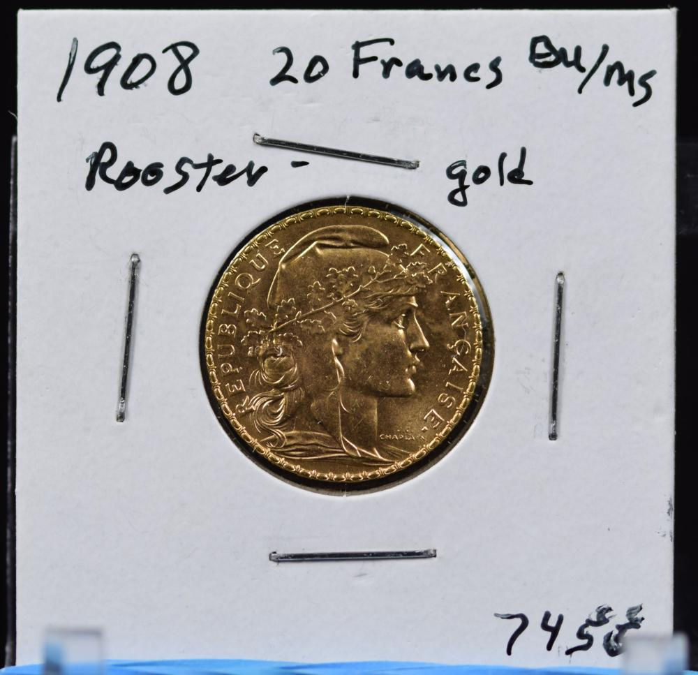 1908 Gold French 20 Francs Rooster BU/MS