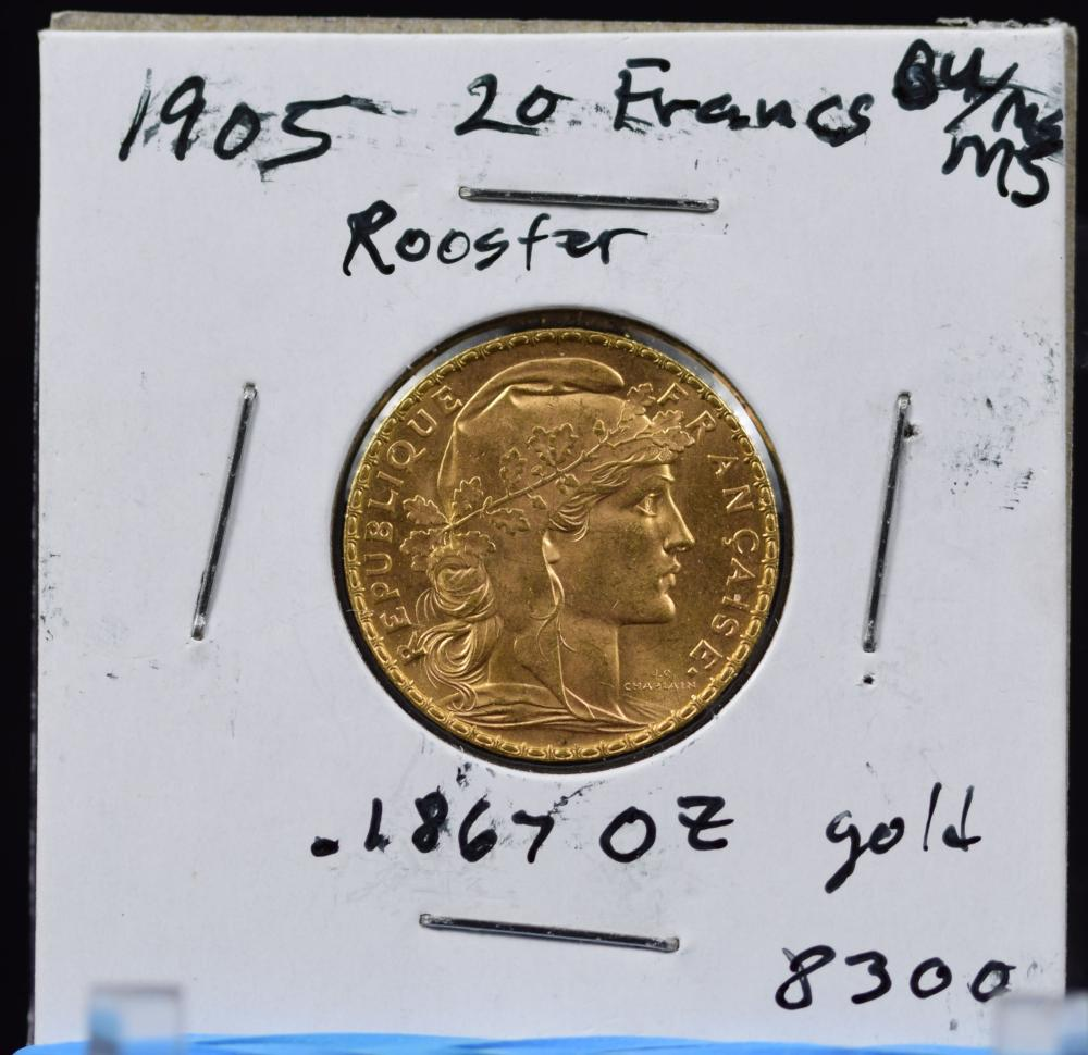 1905 Gold French 20 Francs Rooster BU/MS