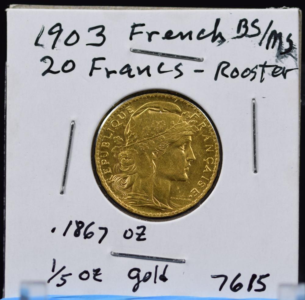 1903 Gold French 20 Francs Rooster MS