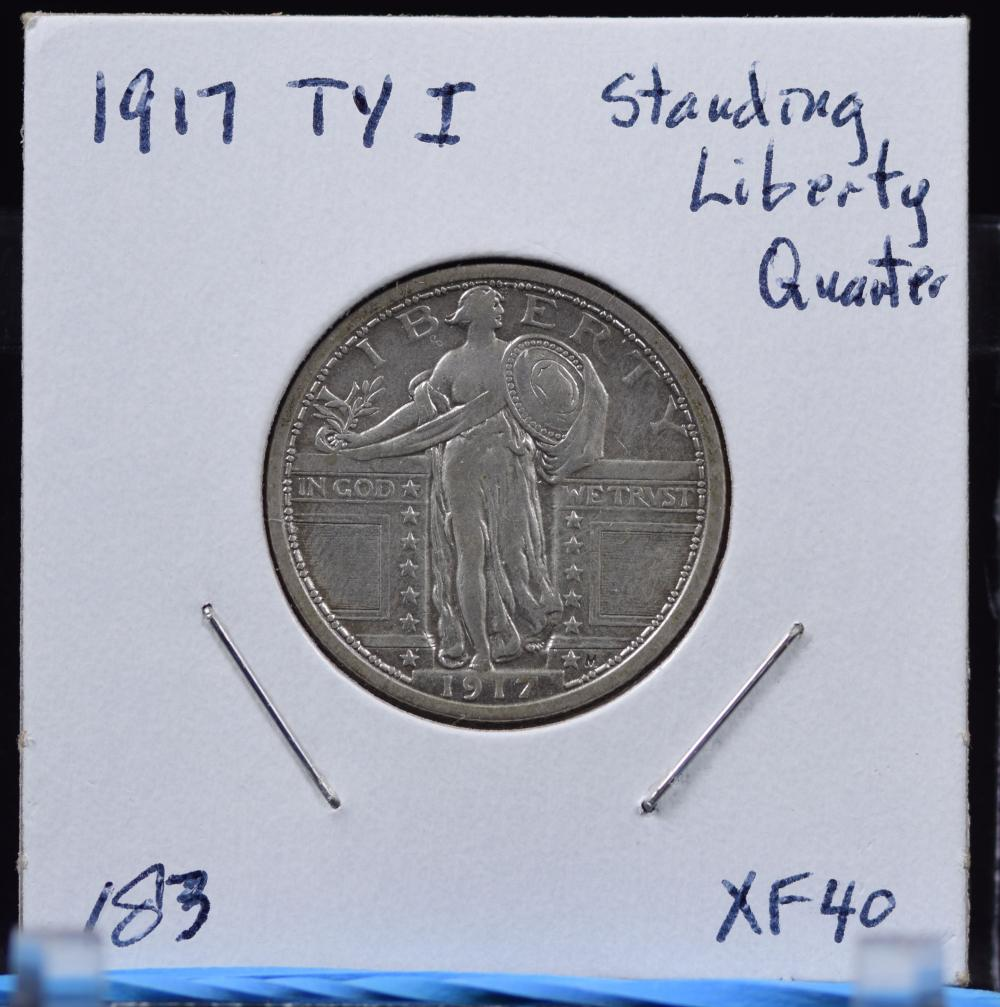 1917 Type 1 Standing Liberty Quarter XF40