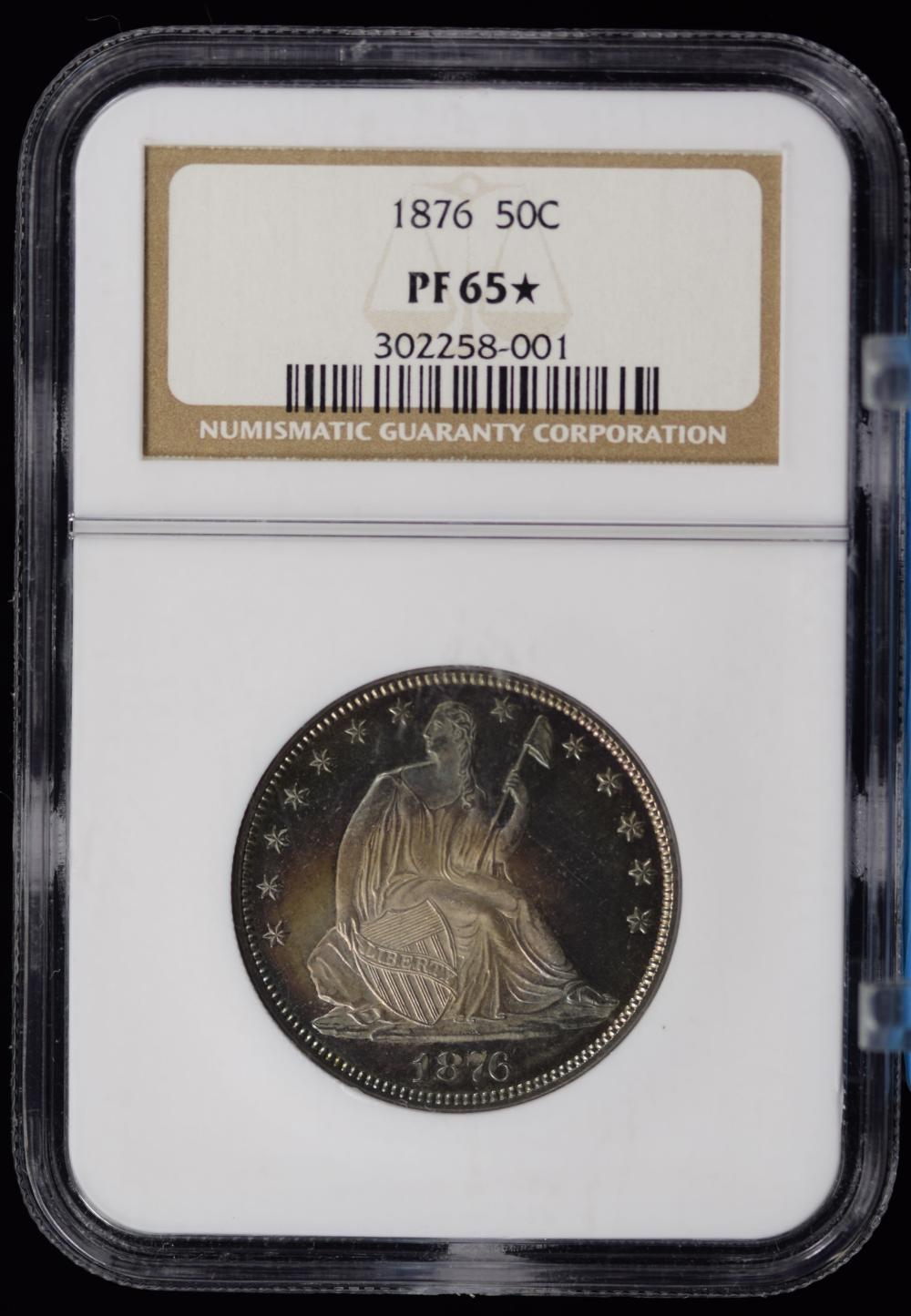 1876 Proof Seated Half Dollar NGC PF-65 Star Great Toning