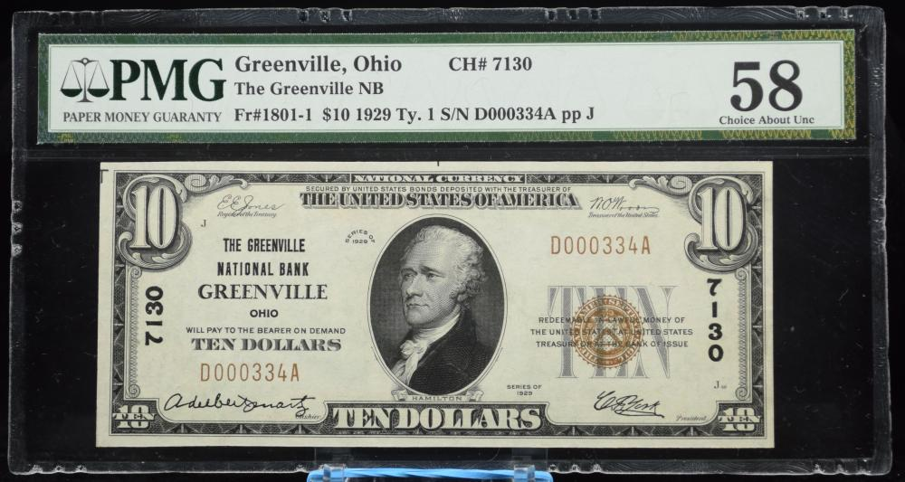 1929 $10 NC Ty1 NB Greenville OH PMG 58 Low #
