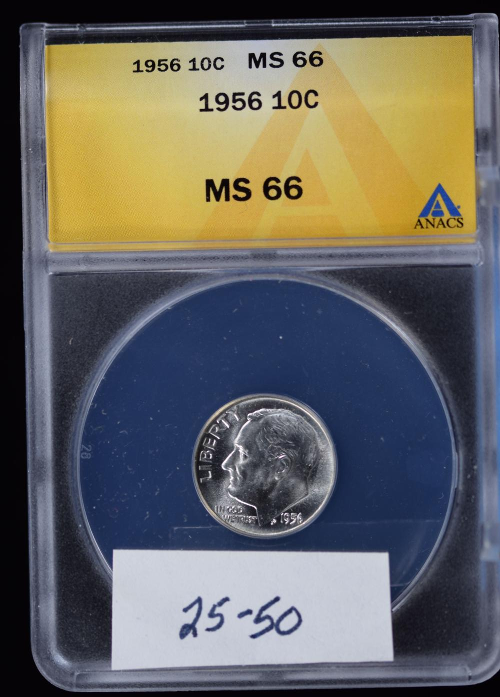 1956 Roosevelt Dime ANACS MS-66