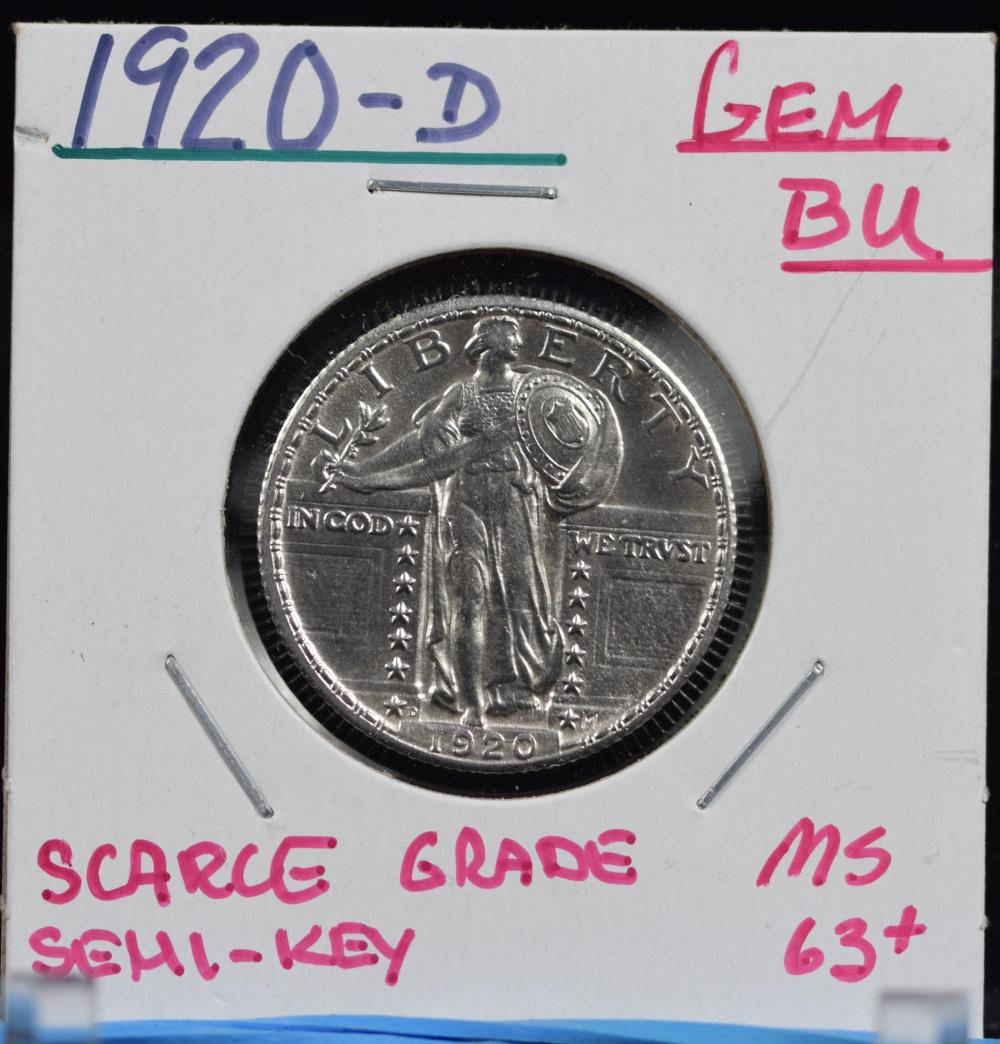 1920-D Standing Liberty Quarter GEM BU Scarce