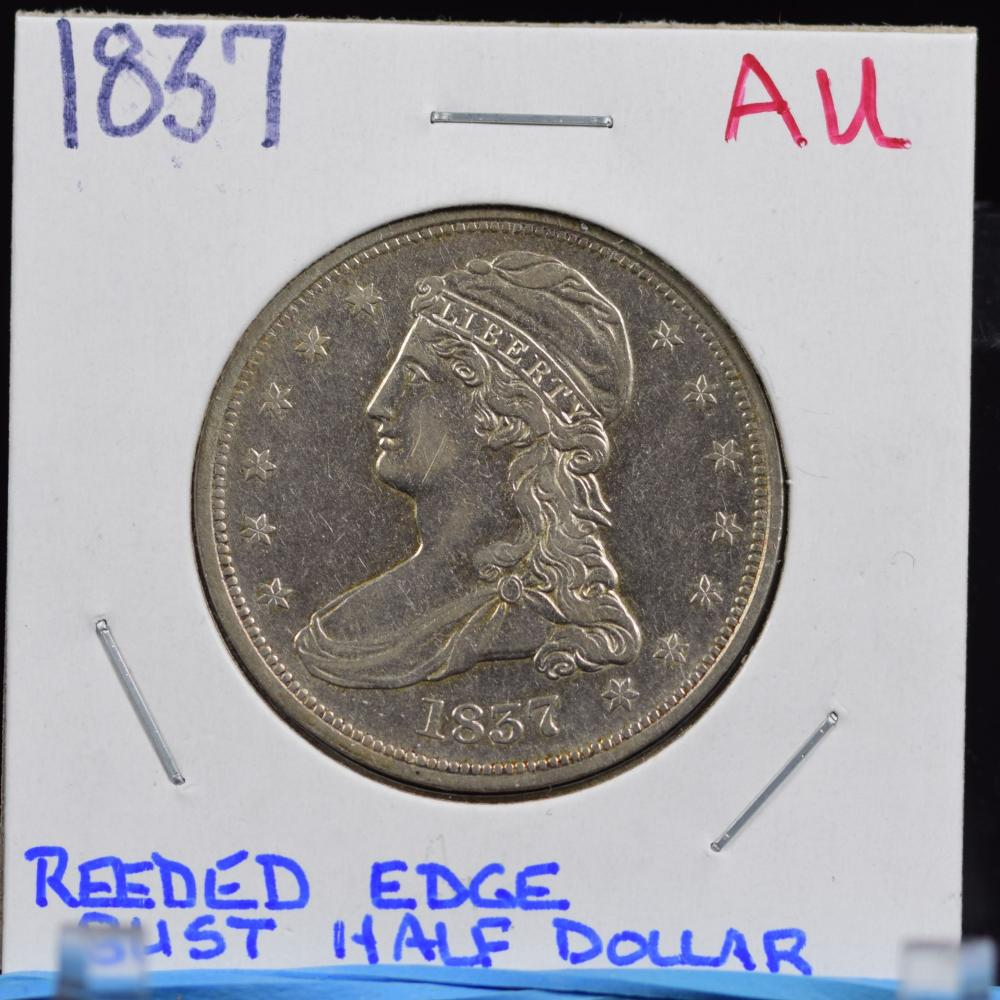 1837 Bust Half Dollar Reeded Edge AU