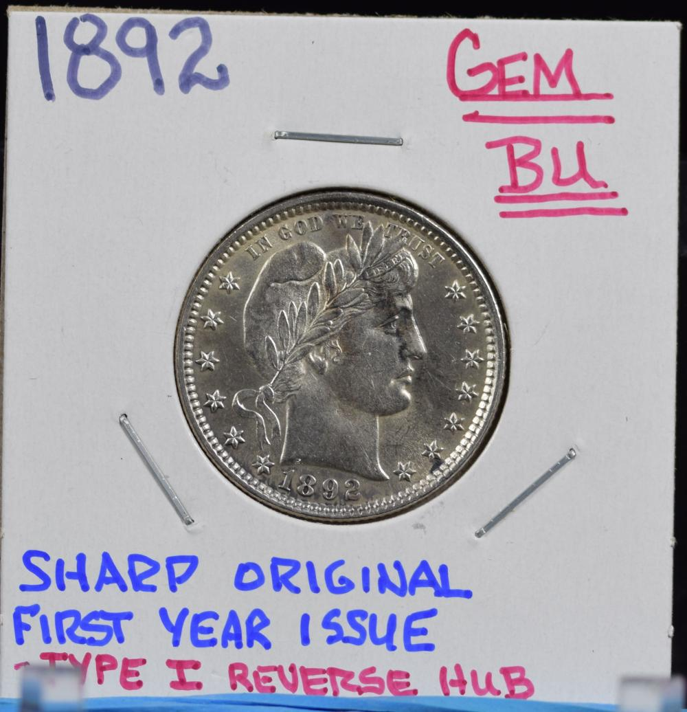 1892 Barber Quarter GEM BU Type 1 Reverse