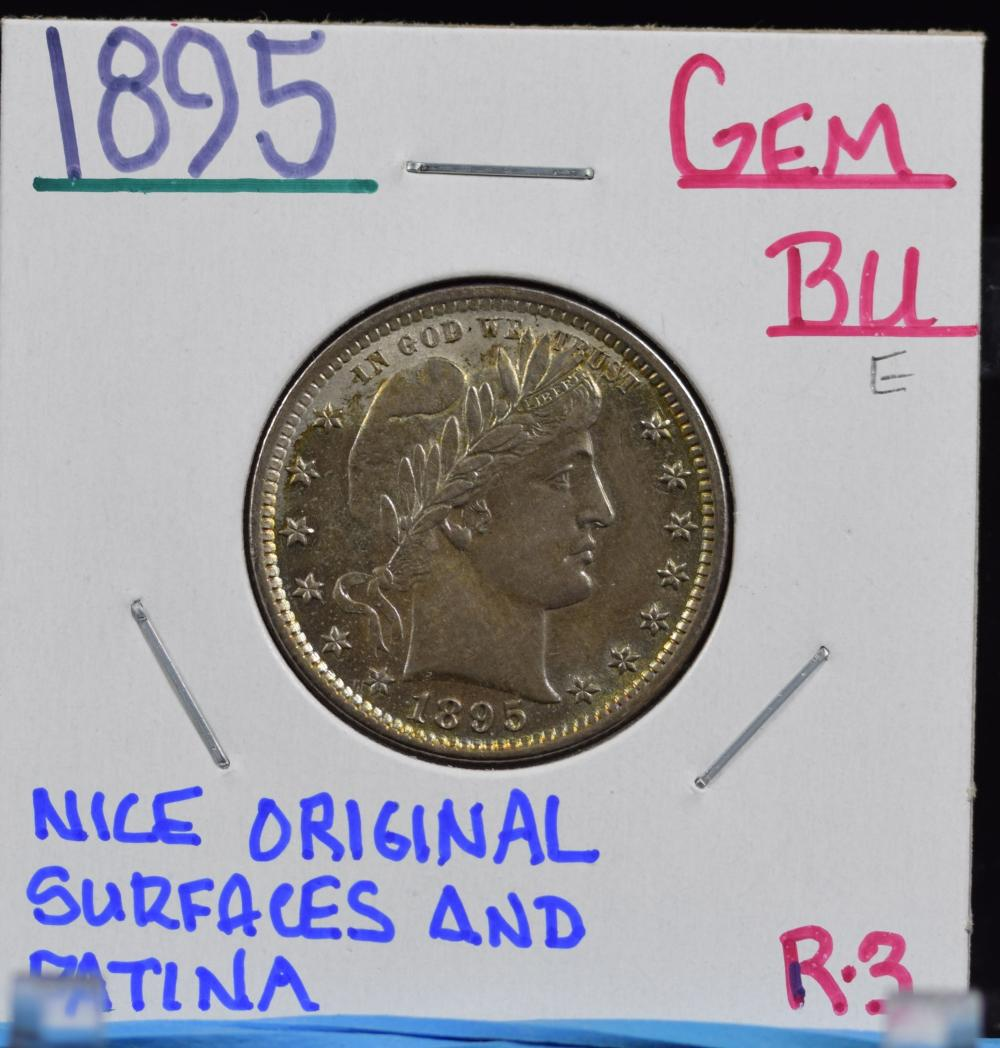 1895 Barber Quarter GEM BU Sharp Original Patina R3