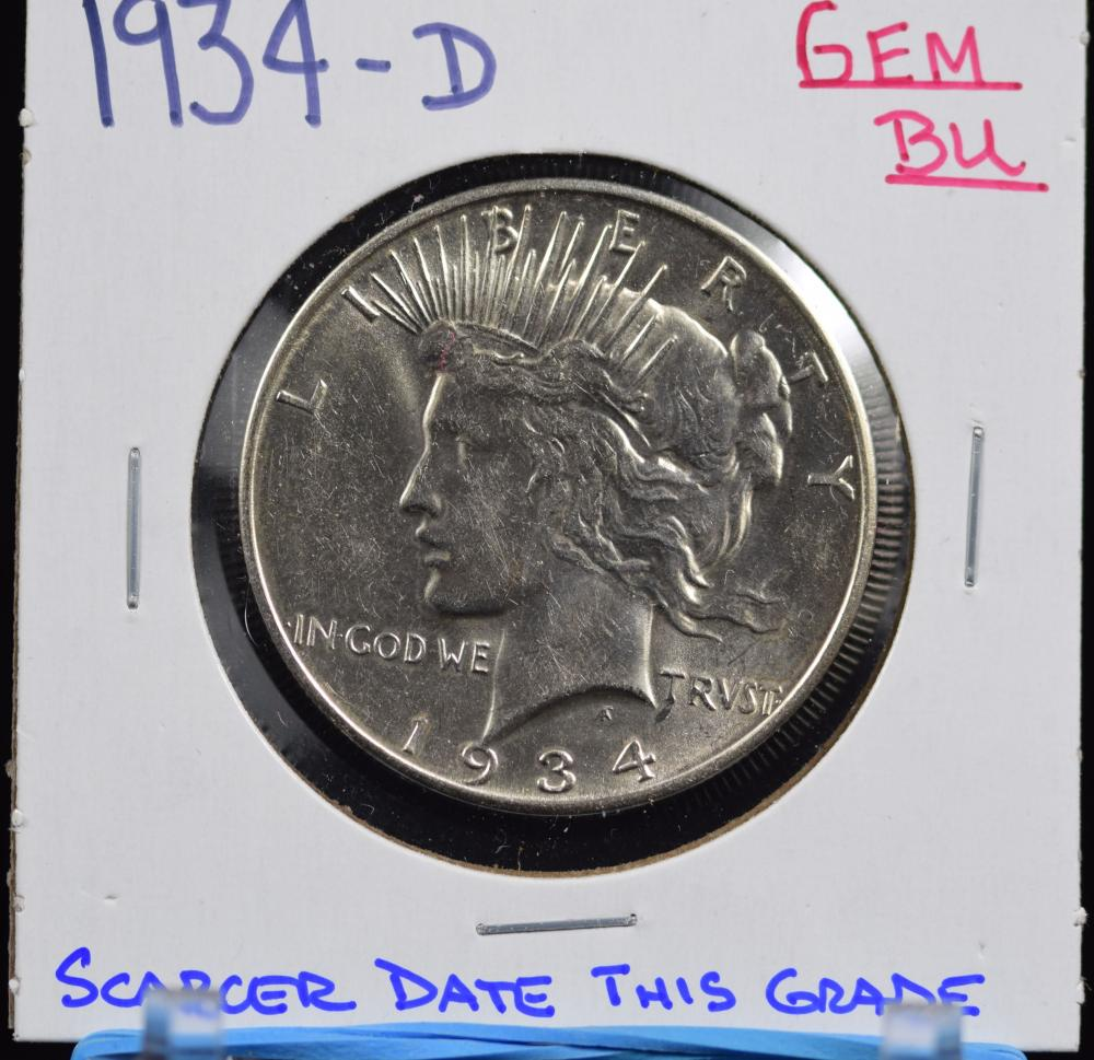 1934-D Peace Dollar GEM BU Sharp Strike
