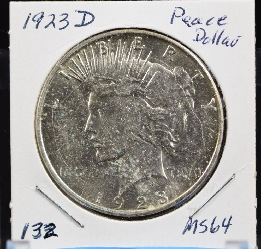 1923-D Peace Dollar MS64