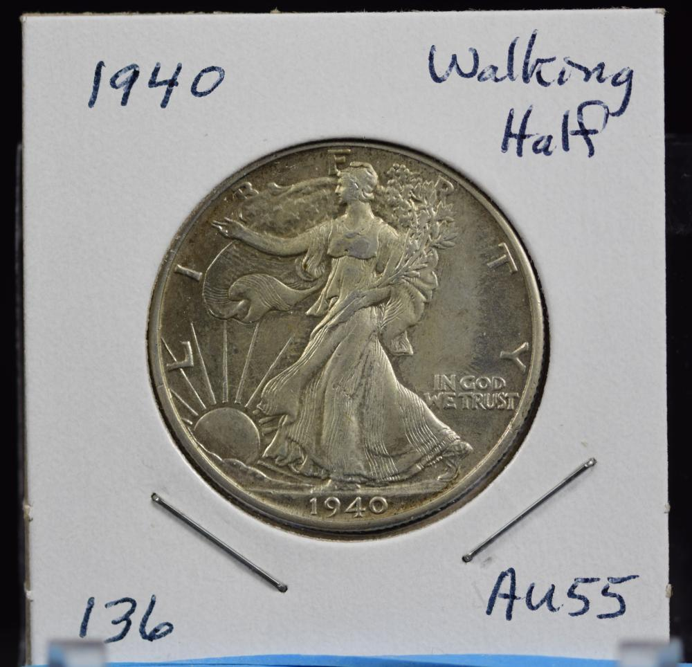 1940 Walking Half Dollar AU55
