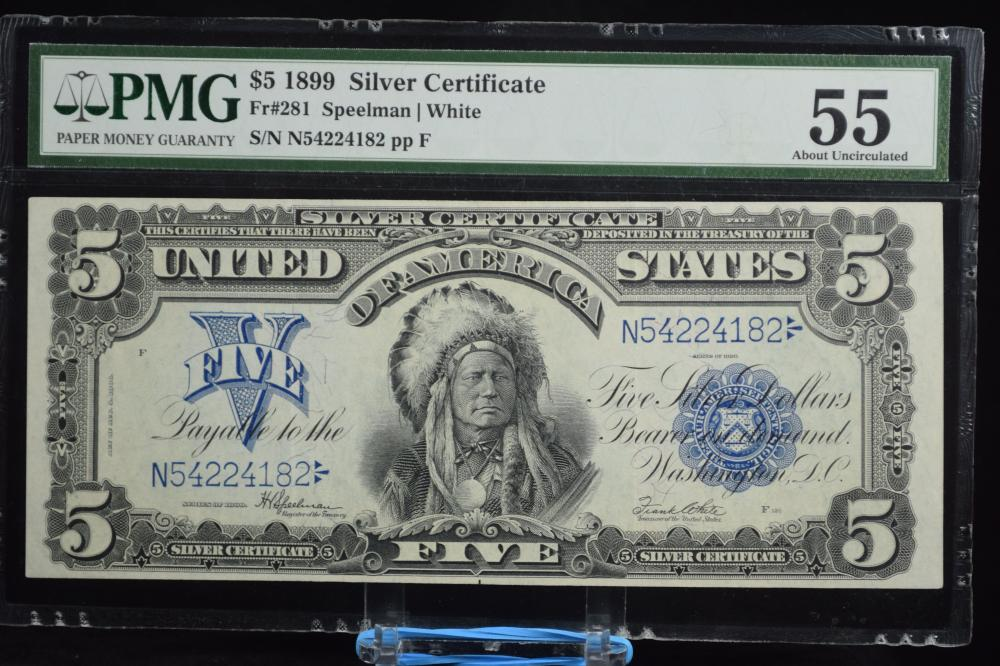 1899 $5 Indian Chief Silver Certificate PMG 55