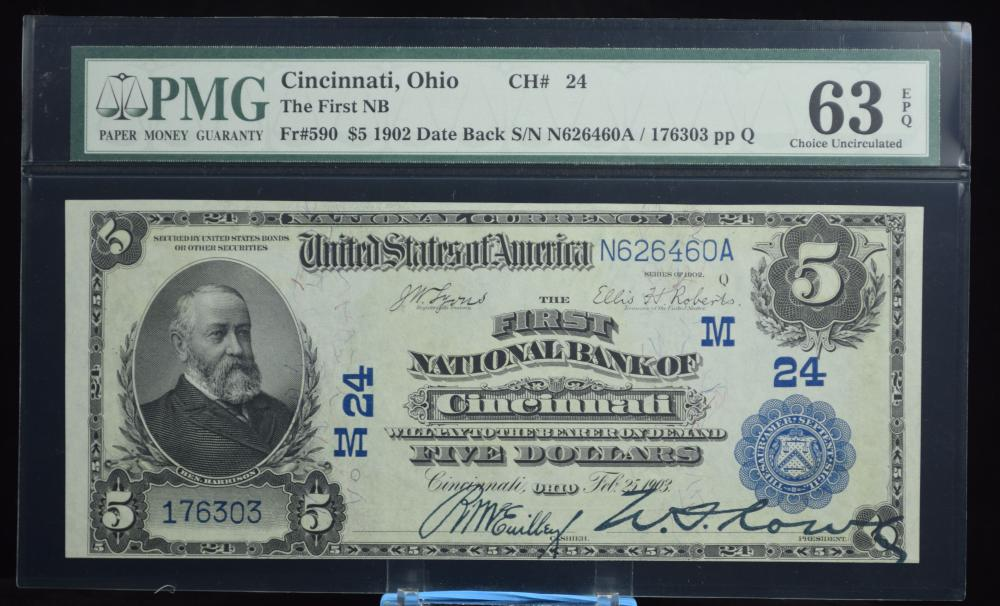 1902 $5 Date Back First NB of Cincinnati PMG 63 EPQ
