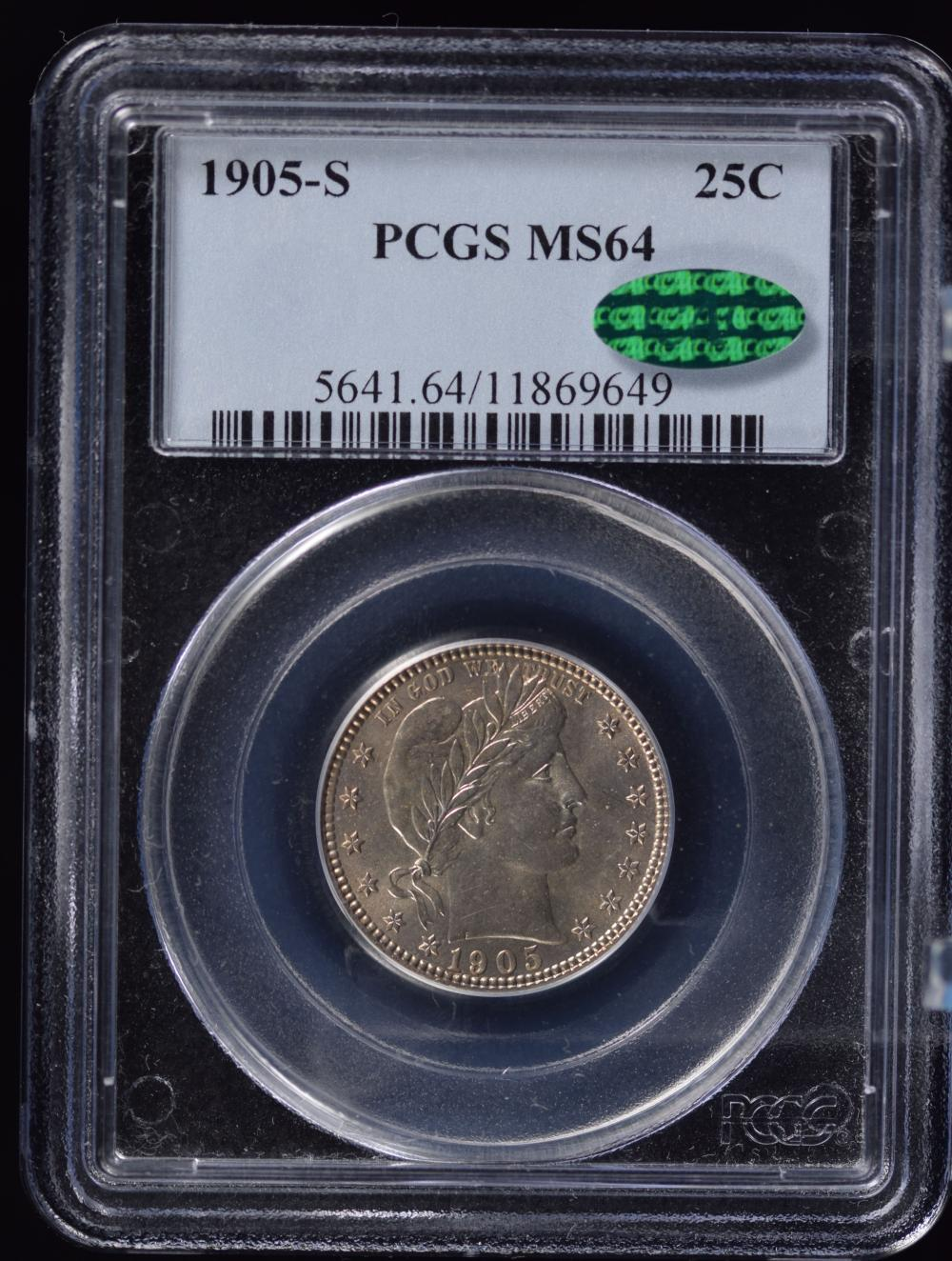 1905-S Barber Quarter PCGS MS-64 CAC Awesome