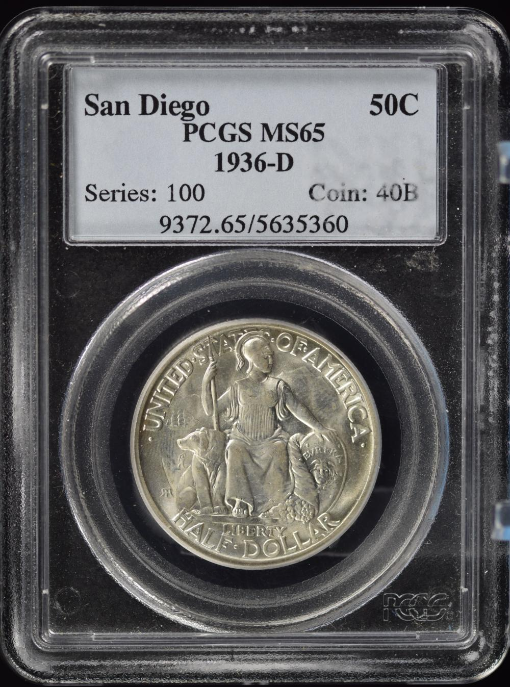 1936-D San Diego Commen Half Dollar PCGS MS-65