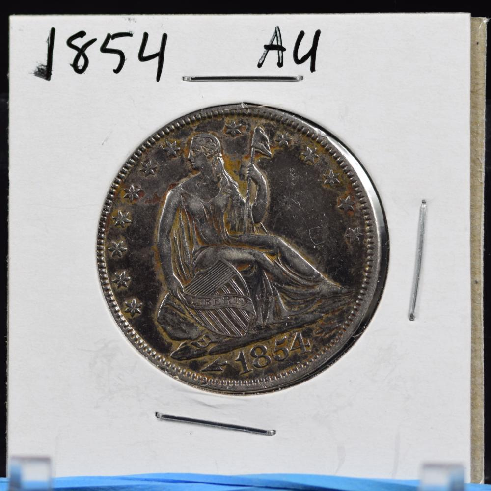 1854 Seated Half Dollar AU