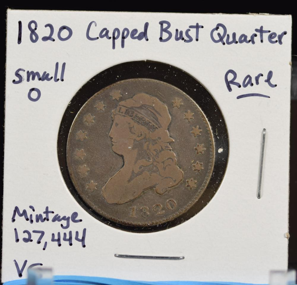 1820 Capped Bust Quarter VG RARE small O low Mintage