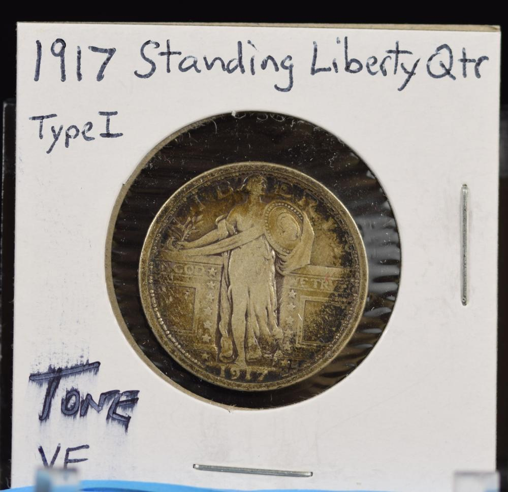 1917 Standing Liberty Quarter Type 1 Tone VF