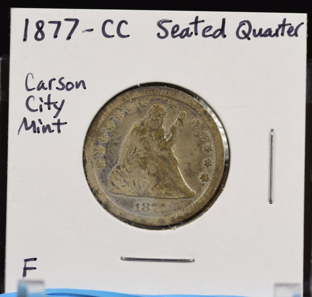 1877-CC Seated Liberty Carson City Mint F