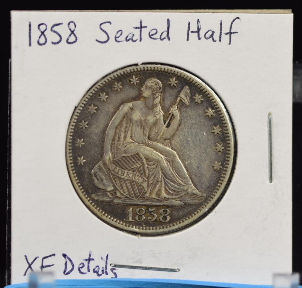 1858 Seated Half Dollar XF details