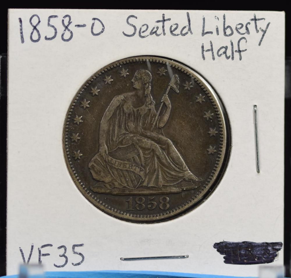 1858-O Seated Half Dollar VF35