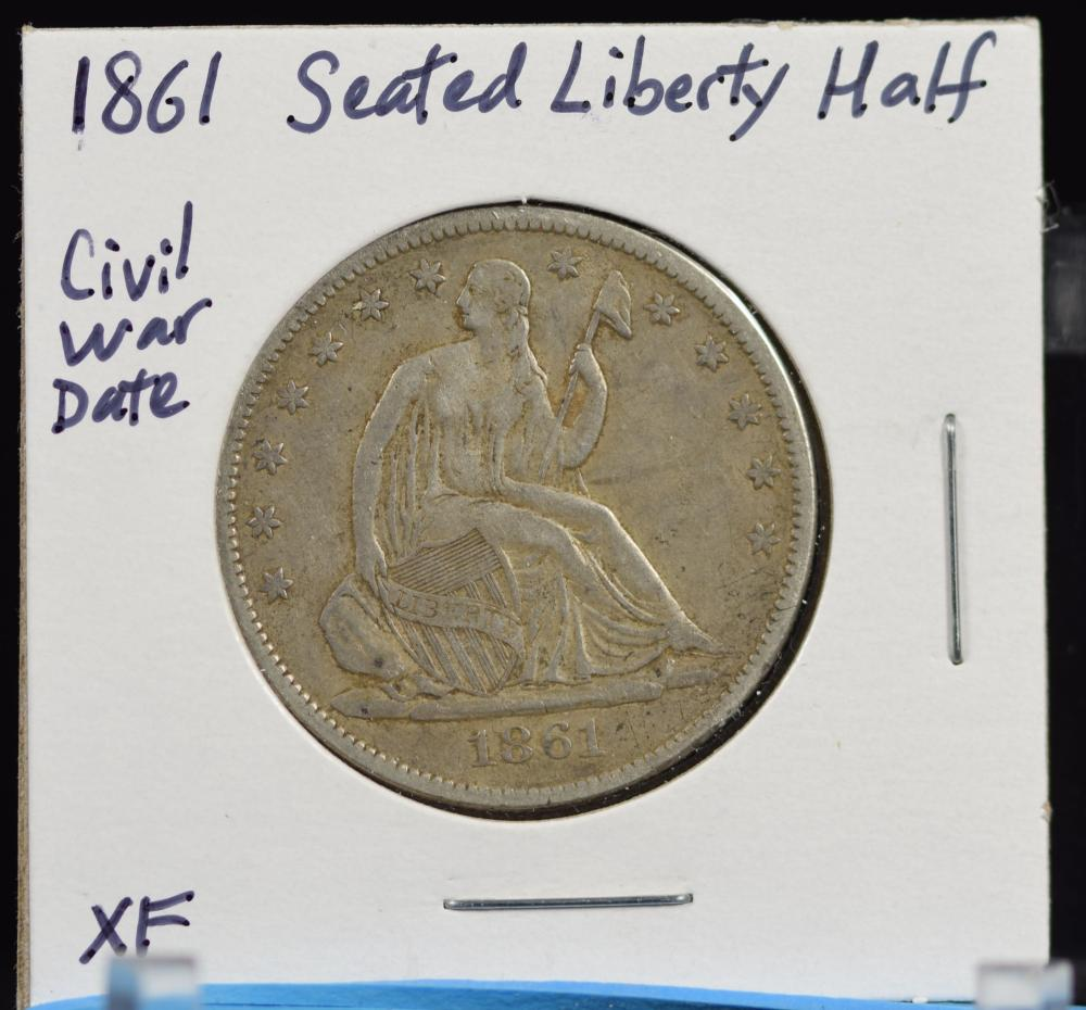 1861 Seated Half Dollar Civil War Date XF