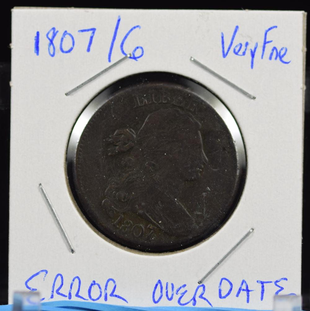 1807/6 Large Cent Error VF