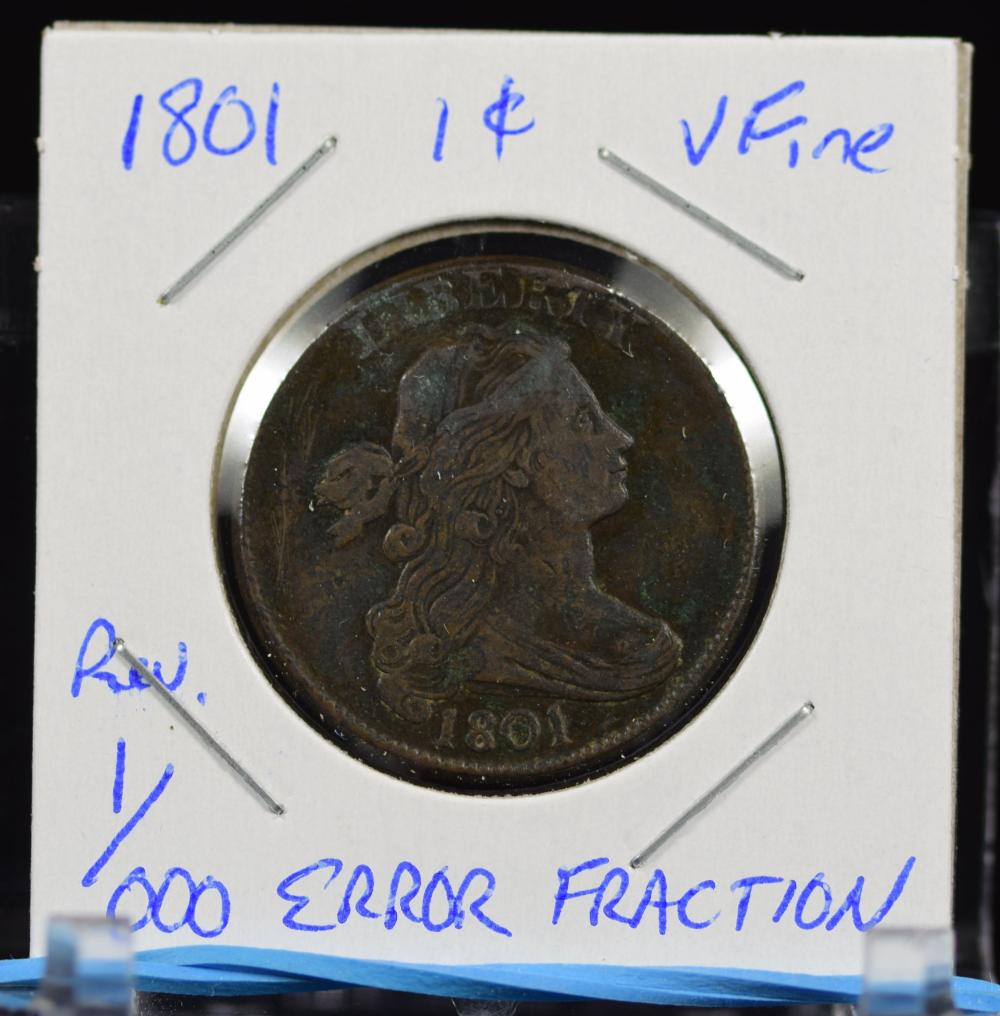 1801 1/1000 Large Cent Bust Error Rev Fraction VF