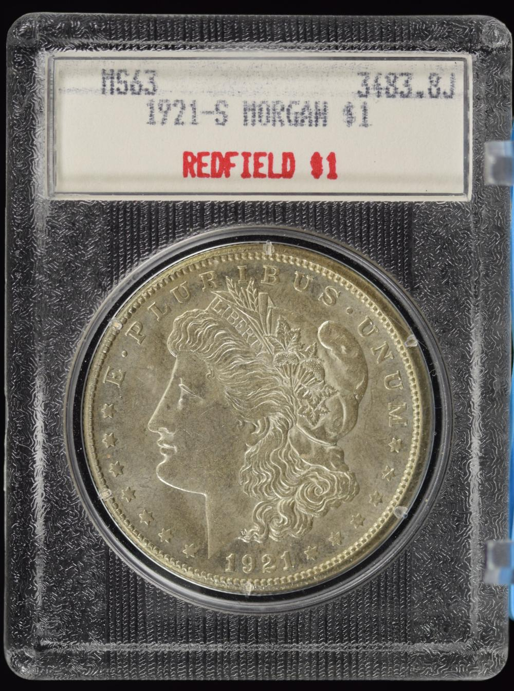 1921-S Morgan Dollar Redfield Pedigree MS63