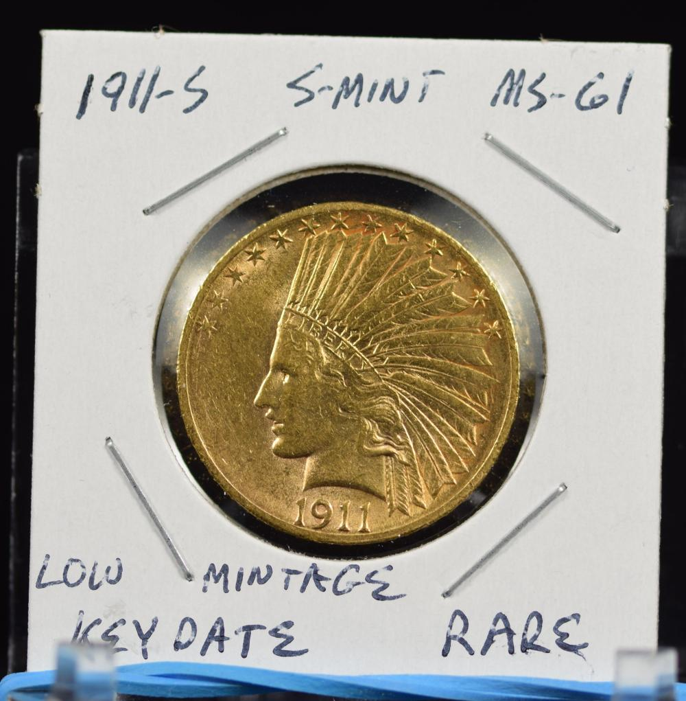 1911-S $10 Gold Indian Low Mintage Awesome Coin