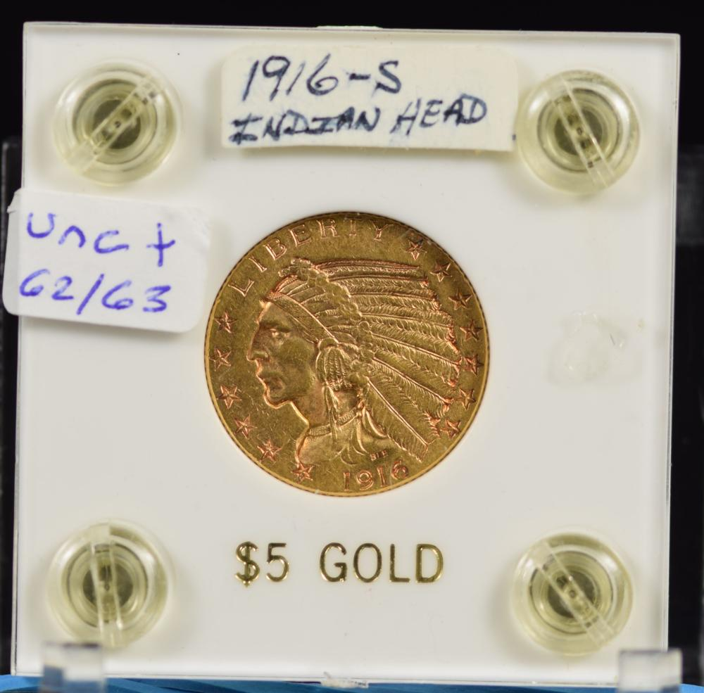 1916-S $5 Gold Indian RARE Date CH/UNC