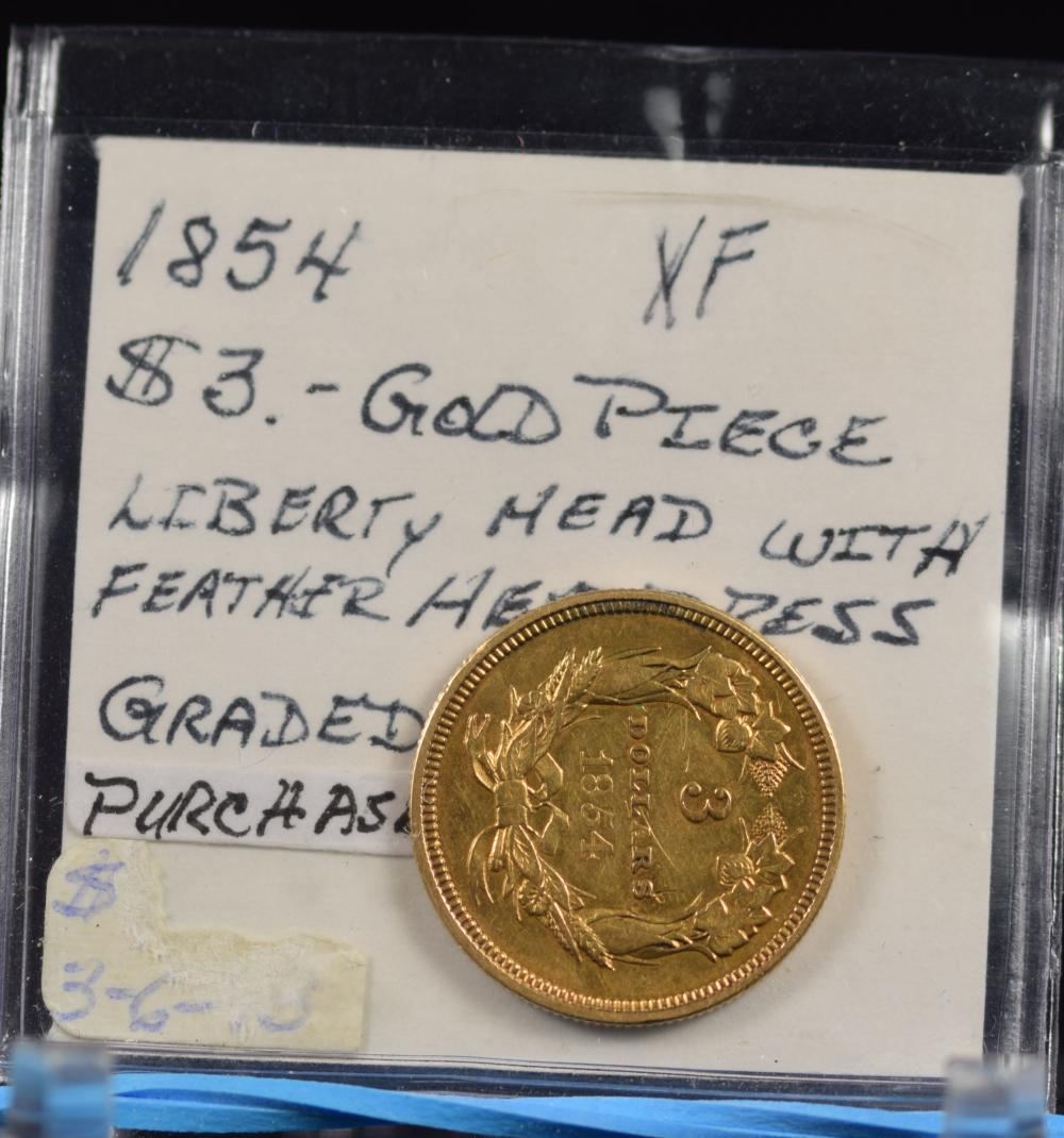 1854 $3 Gold Indian Princess Extra Fine