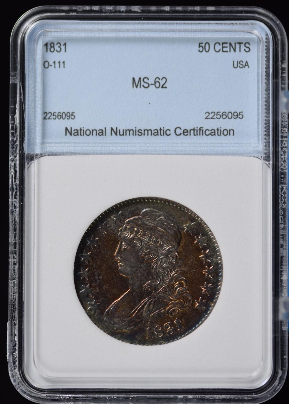 1831 Bust Half Dollar Lustrous Full Strike Amazing Color Tone NNC 62