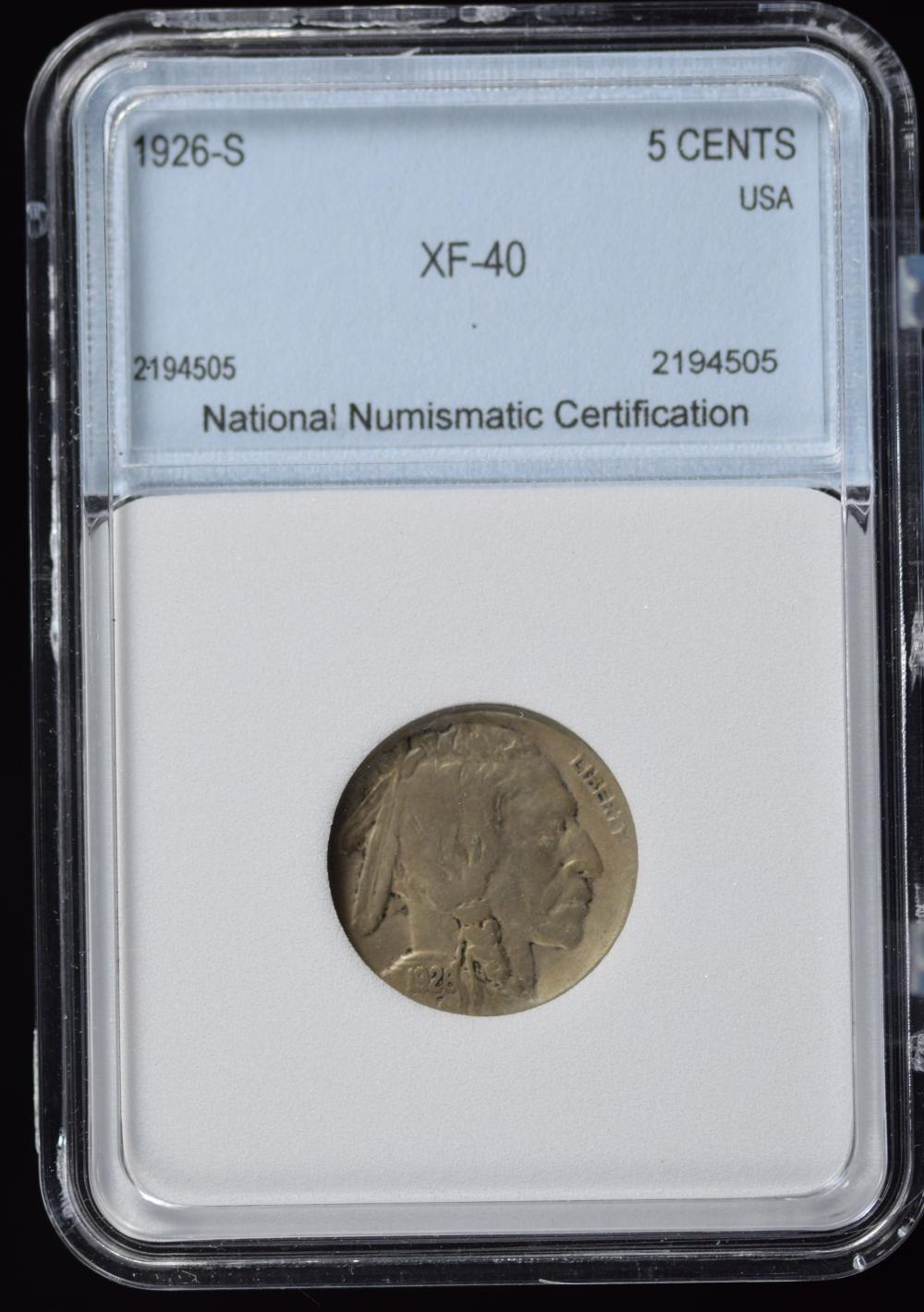 1926-S Buffalo Nickel Very Scarce Key Date NNC 40