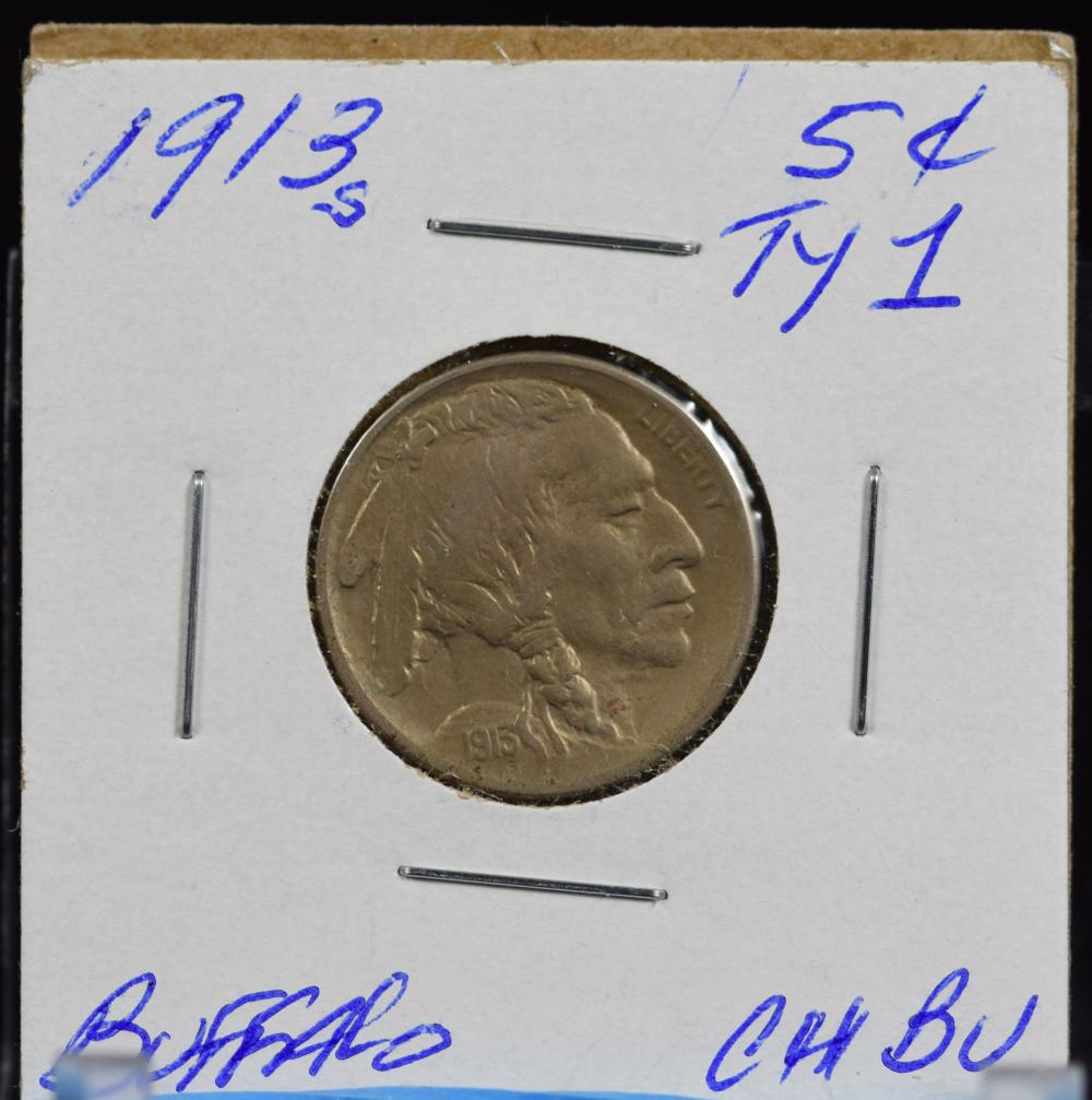 1913-S Type 1 Buffalo Nickel CH BU Lite Tone Better Date Well Struck