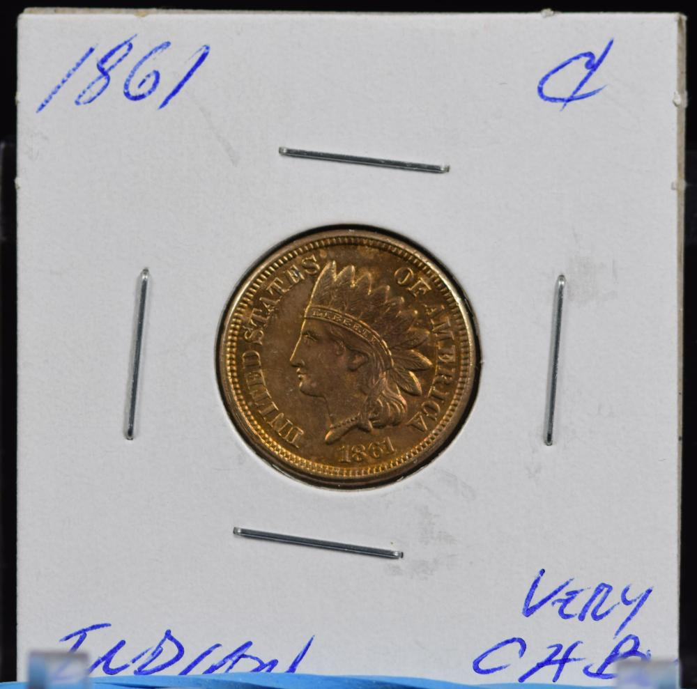 1861 Indian Cent CH BU Sharp Strike Nice Red Gold Color Scarce Date