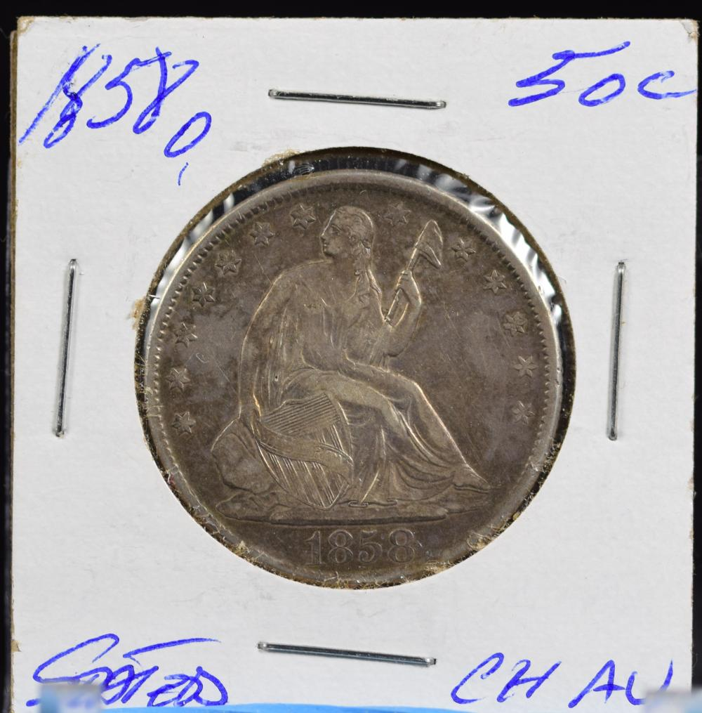 1858-O Seated Half Dollar Very Attractive Tone Better Date