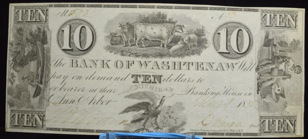 1835 $10 #500 Bank of Washtenaw Fully Issued Fancy Serial #