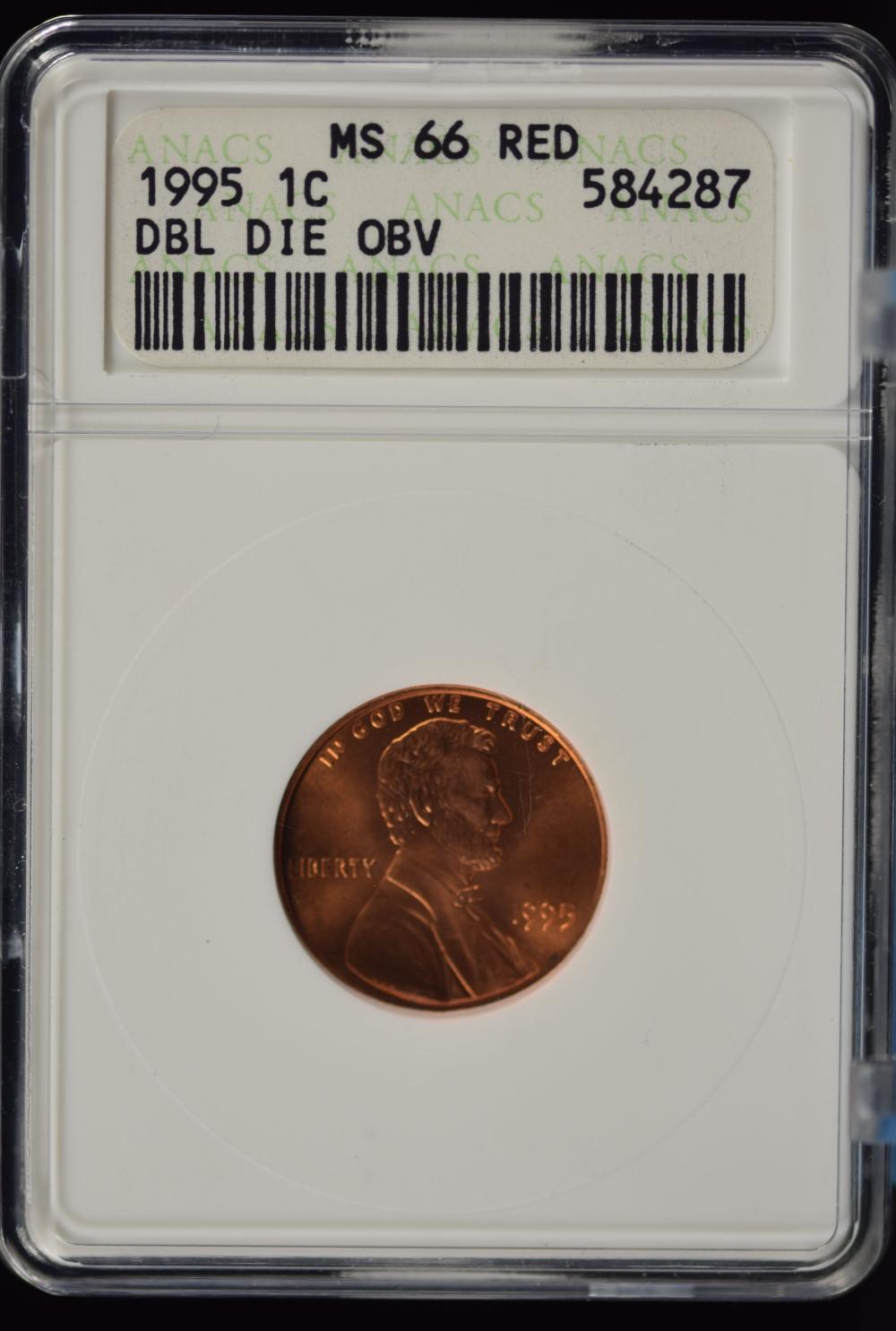1995 DD Lincoln Cent ANACS MS-66 Red