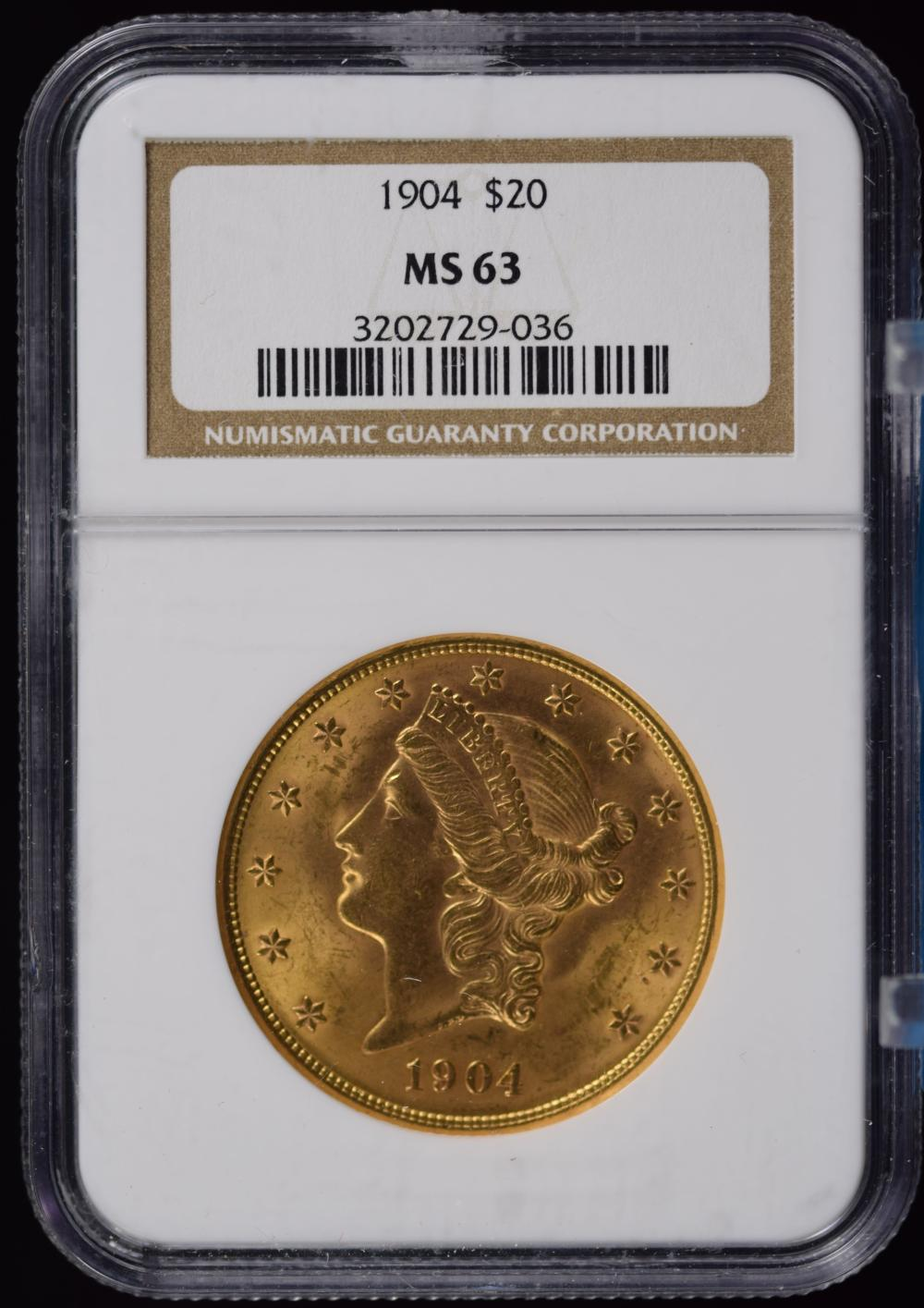 1904 $20 Gold Liberty NGC MS-63