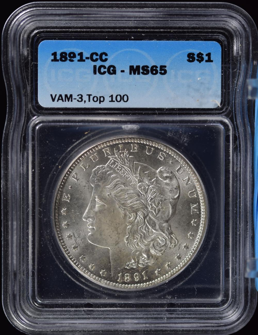 1891-CC Morgan Dollar VAM3 Spitting Eagle ICG MS-65