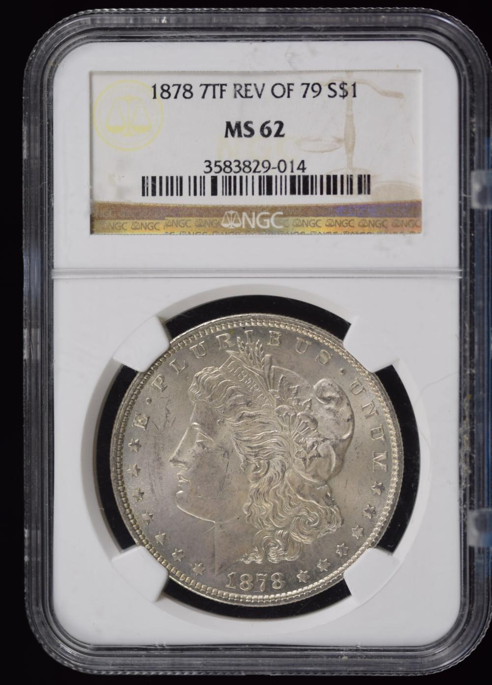 1878 7tf Rev 79 Morgan Dollar NGC MS-62