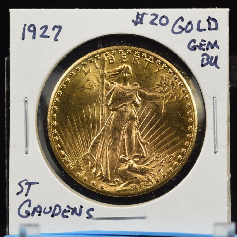 1927 $20 St Gaudens Gem BU Beautiful Coin