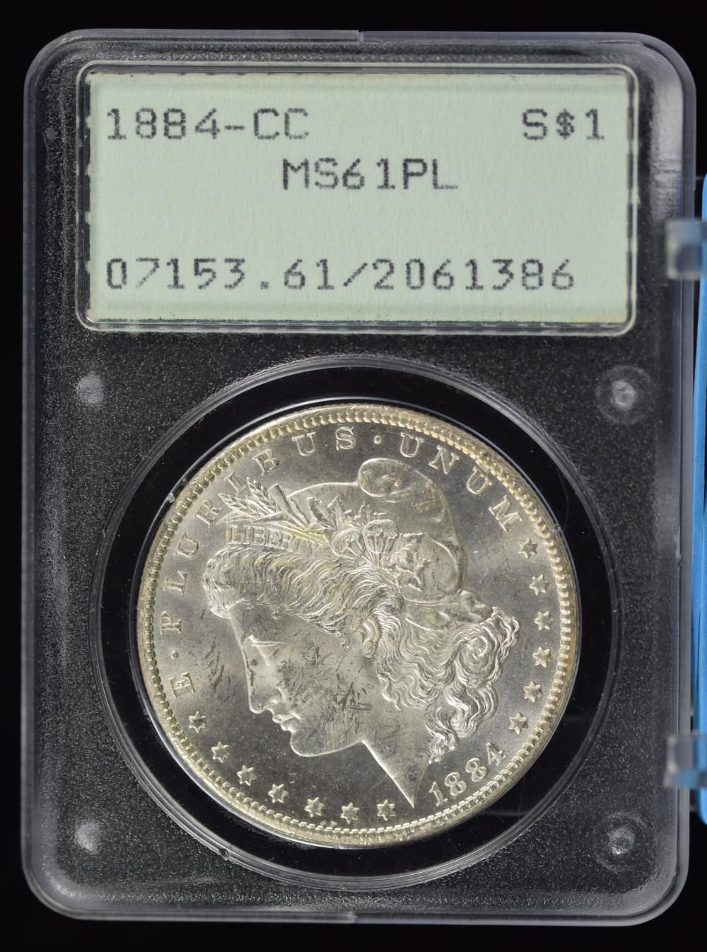 1884-CC Morgan Dollar MS-61 PL Old Rattler Holder
