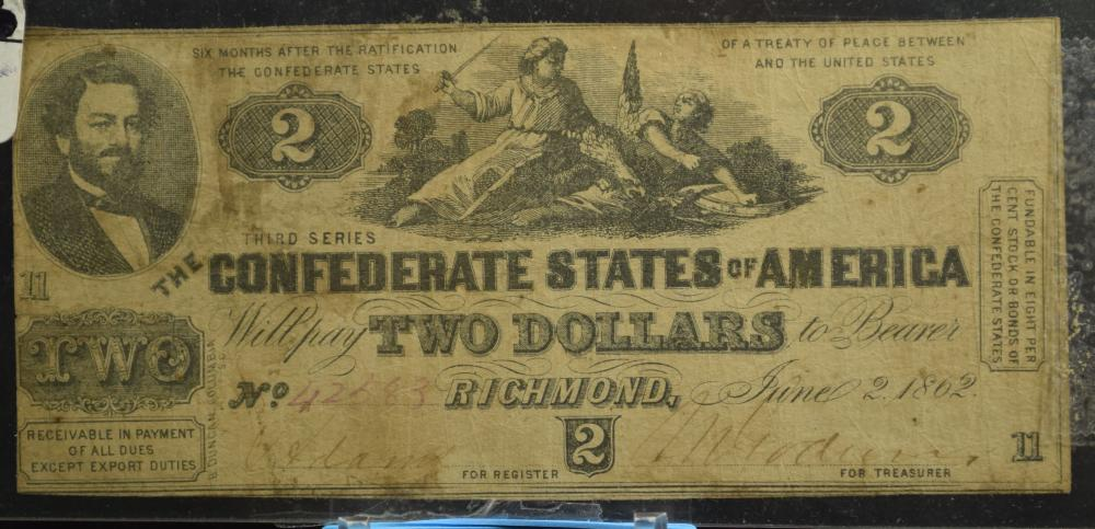 1862 $2 Confederate States of America Richmond Original Condtion
